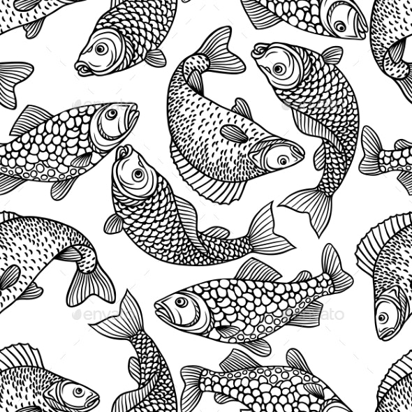 Seamless Pattern with Decorative Fish - Patterns Decorative