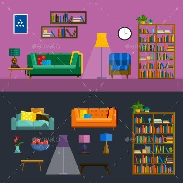 Living Room Interior - Flowers & Plants Nature