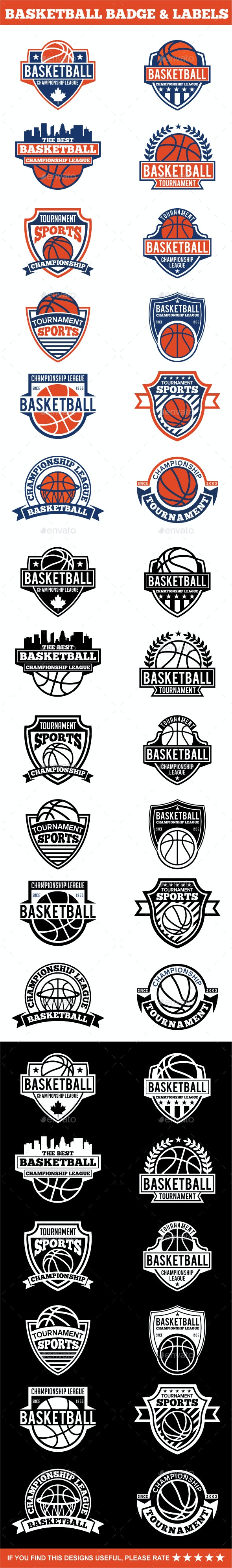 Basketball  Badges & Stickers Vol1 - Badges & Stickers Web Elements