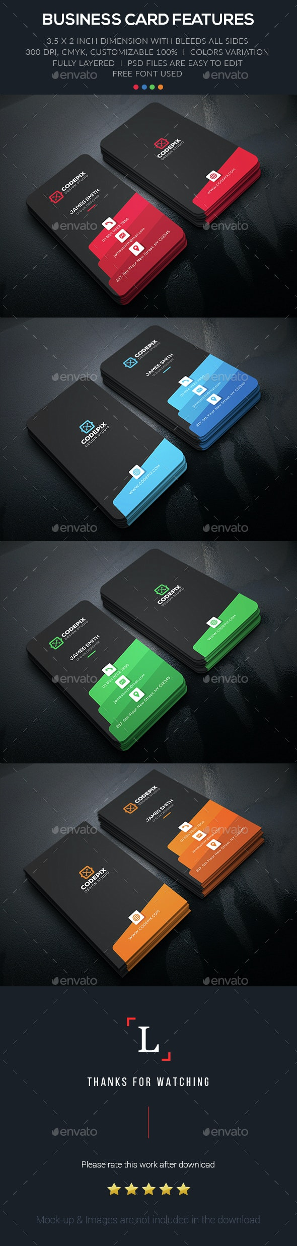 Color Creative Business Card - Business Cards Print Templates