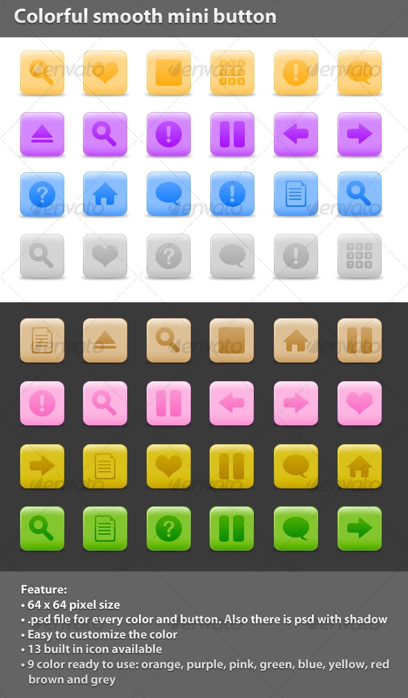 Colorful Smooth Mini Button - Web Icons