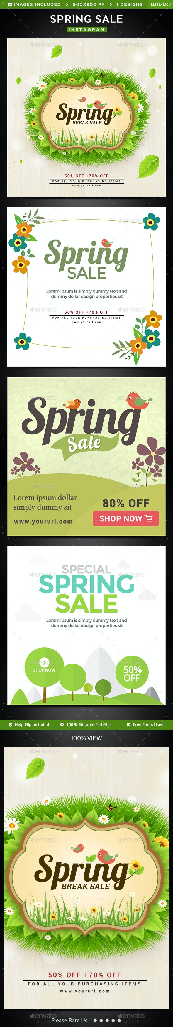 Spring Sale Instagram Templates - 4 Designs - Social Media Web Elements