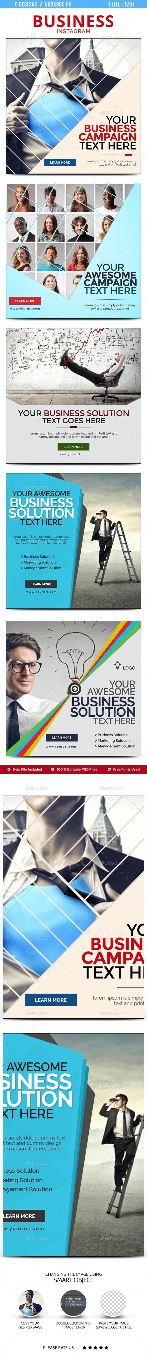 Business Instagram Templates - 5 Designs - Social Media Web Elements