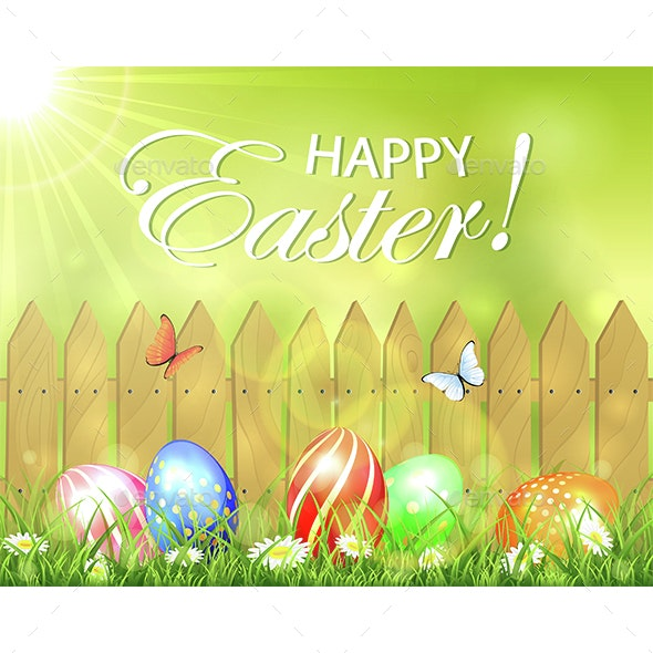 Easter Eggs in Grass on Gate Background - Miscellaneous Seasons/Holidays
