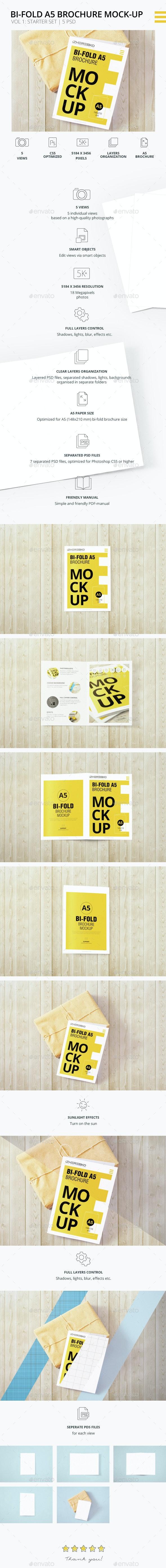 Bi-Fold A5 Brochure | Leaflet  Mock-up. Vol.1 - Brochures Print