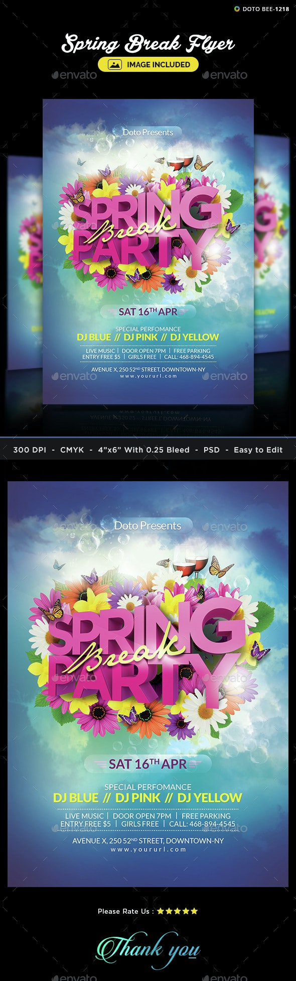 Spring Flyer Template - Image Included - Clubs & Parties Events