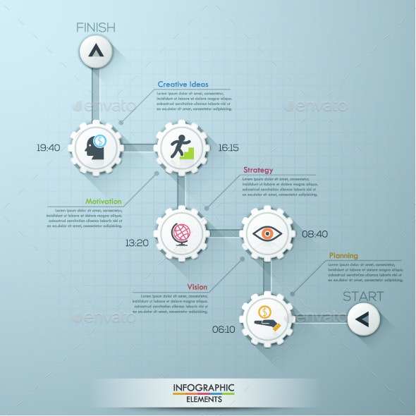 Business Timeline Gear Infographic Template - Infographics