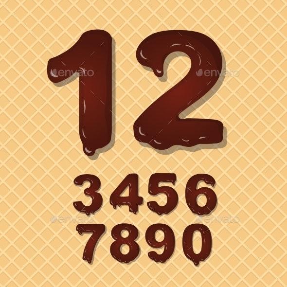 Set of Chocolate Numbers Set - Decorative Symbols Decorative