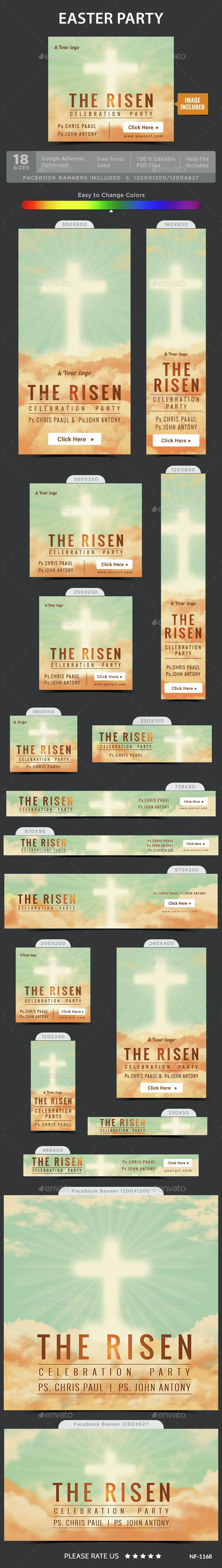 Easter Party Banners - Banners & Ads Web Elements