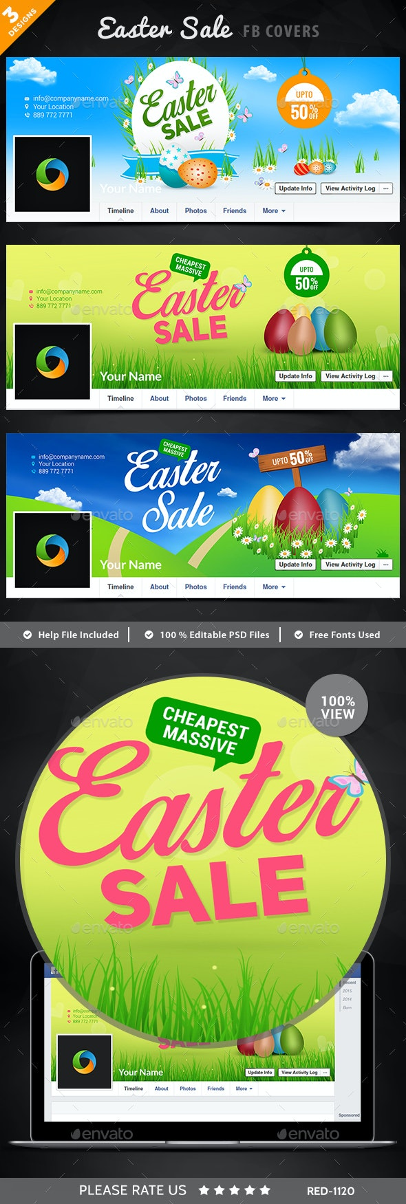 Easter Sale Facebook Covers - 3 Designs - Imagese Included - Facebook Timeline Covers Social Media