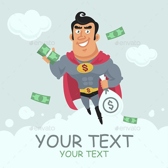 Superhero Holding Money in Flight - People Characters