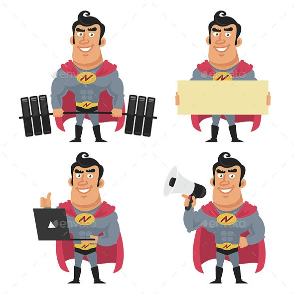 Superhero Holds Various Objects - People Characters