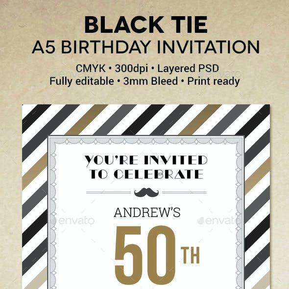 Black Tie Birthday Invitation