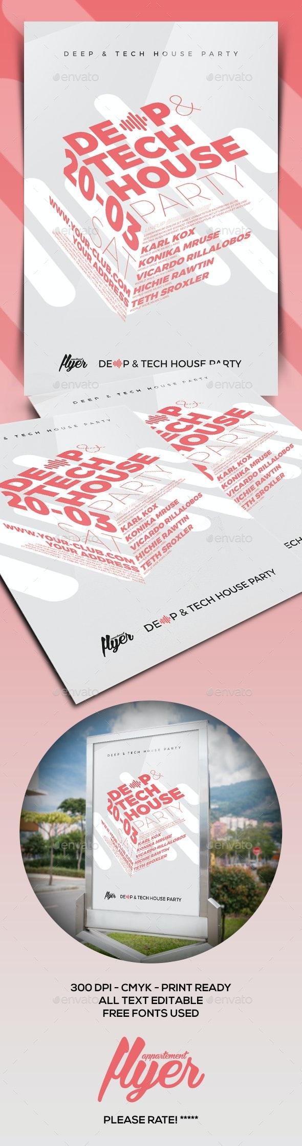 Deep & Tech House Flyer - Clubs & Parties Events