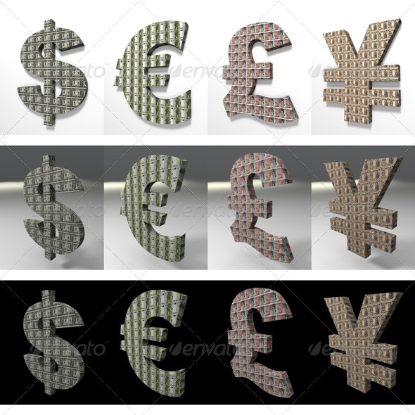 Dollar, Euro, Pound, Yena 3D Textured - Objects 3D Renders