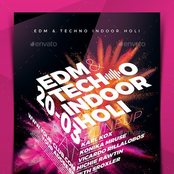 EDM & Electro Indoor Holi Flyer