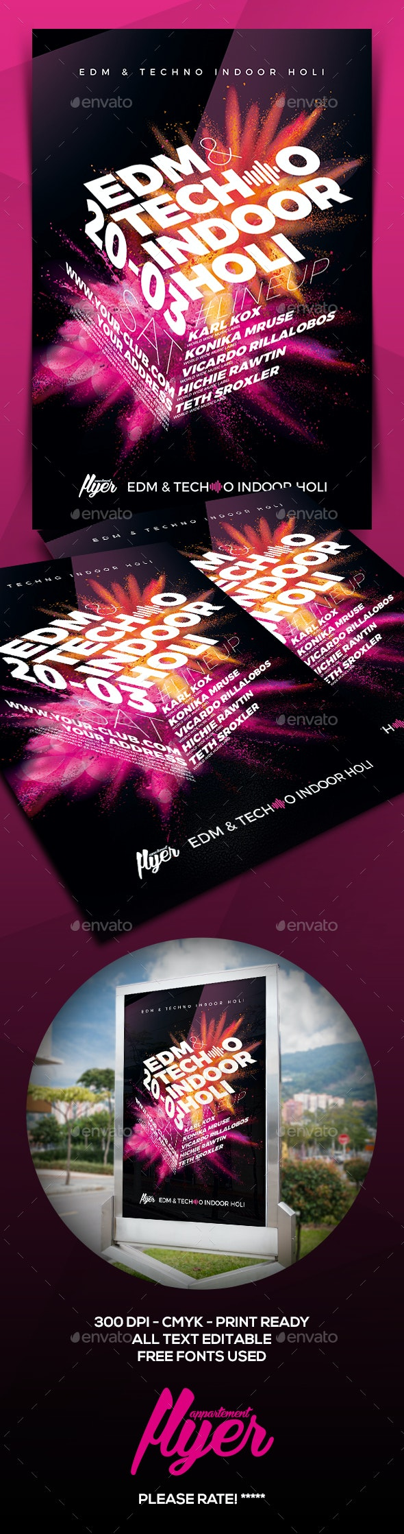 EDM & Electro Indoor Holi Flyer - Print Templates