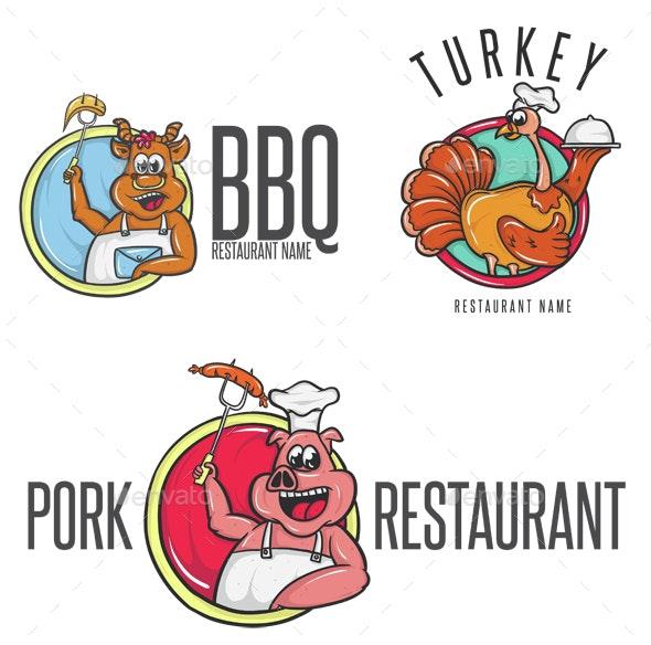 Happy Cartoon Chef in Toque  - Animals Characters