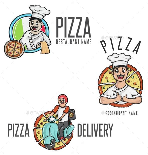 Happy Pizza Cartoon Mascot - People Characters