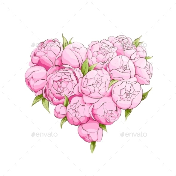 Bright Peonies Heart - Flowers & Plants Nature