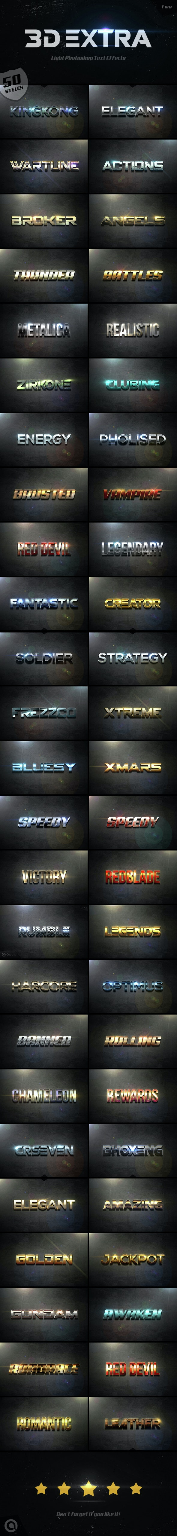 3D Extra Light Text Effects Bundle Two - Styles Photoshop