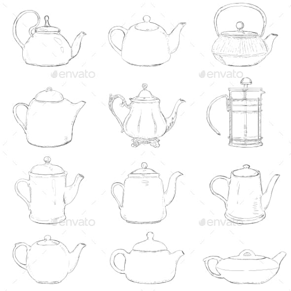 Set of Different Sketch Teapots