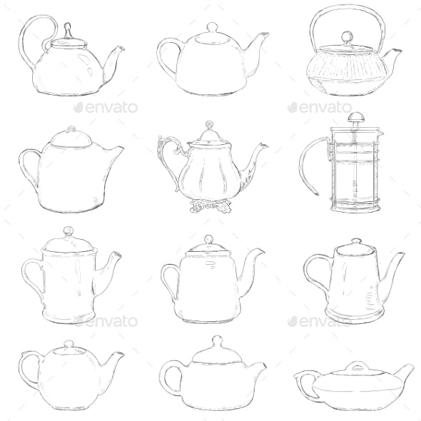 Set of Different Sketch Teapots - Miscellaneous Vectors