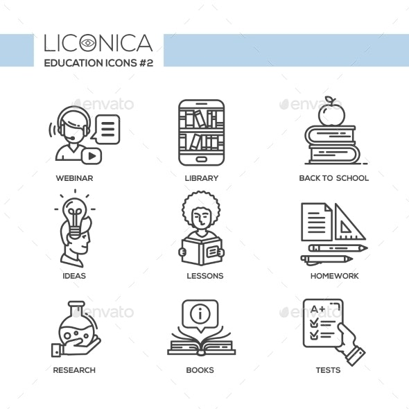 Modern School and Education Simple Thin Line - Miscellaneous Vectors