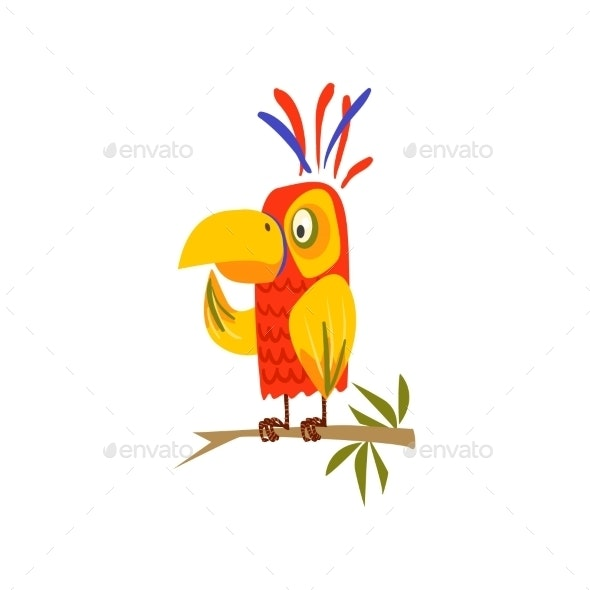 Parrot Standing on Branch Flat - Animals Characters
