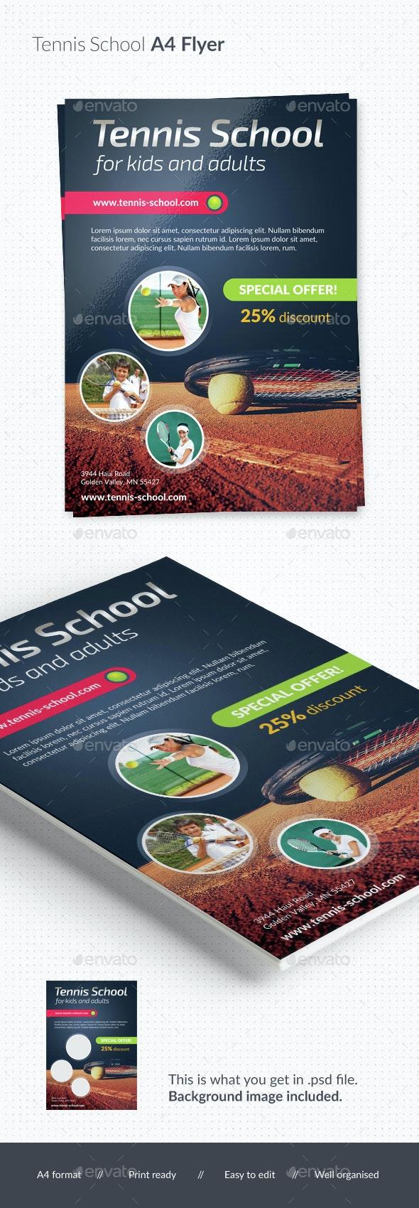 Tennis School / Tournament A4 Flyer - Sports Events