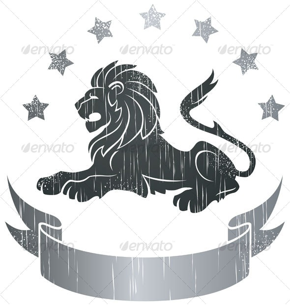 Lying Lion Insignia - Animals Characters
