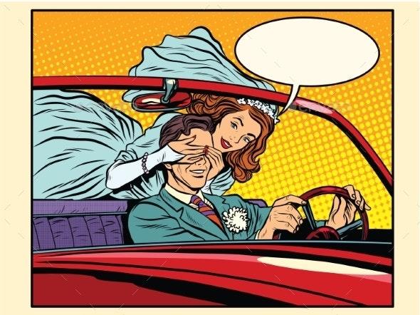 Wedding Trip Bride Groom Car - People Characters