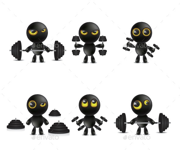 Set of Cartoon Characters Emoticon with Dumbbells Weights - People Characters