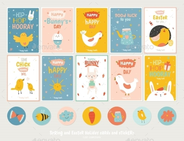Easter Greeting Cards - Animals Characters