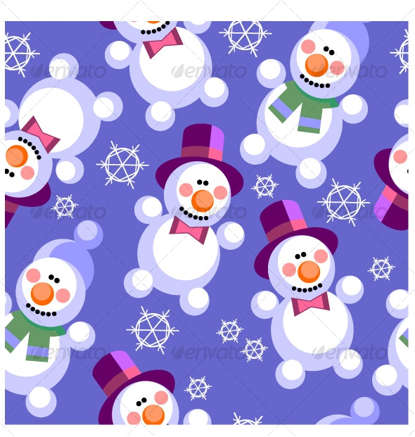 Seamless ornament  snowman in color  27 - Backgrounds Decorative