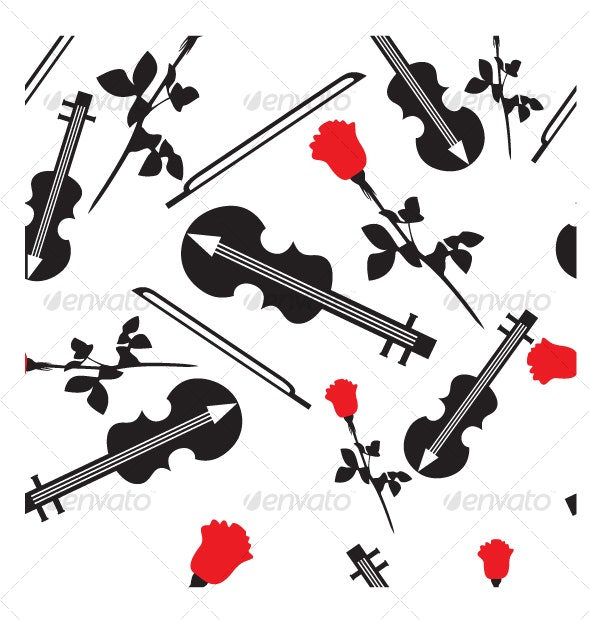 Seamless ornament with violin in color  17 - Backgrounds Decorative