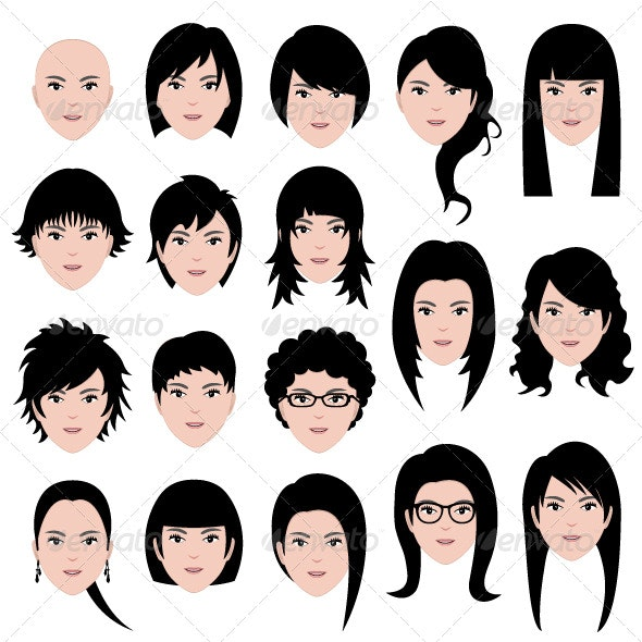 Female Hairstyle - People Characters