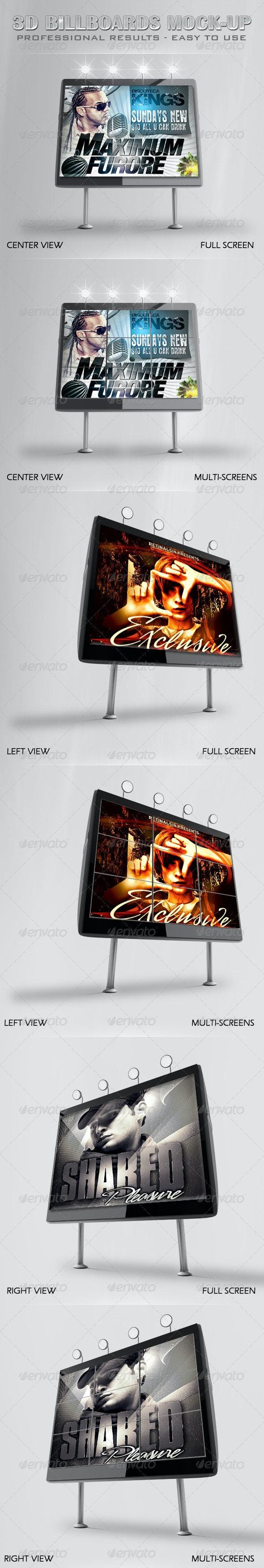 Professional 3D Billboards Mock-up - Signage Print
