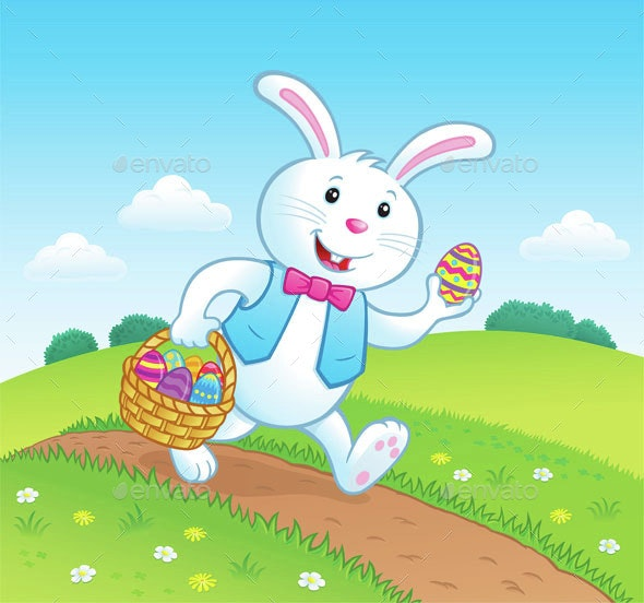 Bunny on Trail with Easter Basket and Eggs - Miscellaneous Seasons/Holidays