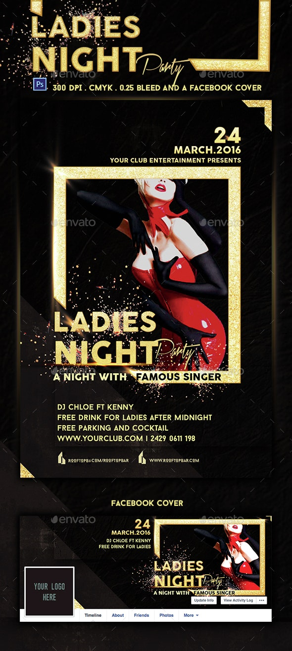 Golden Frame Ladies Night Party Flyer Template - Clubs & Parties Events