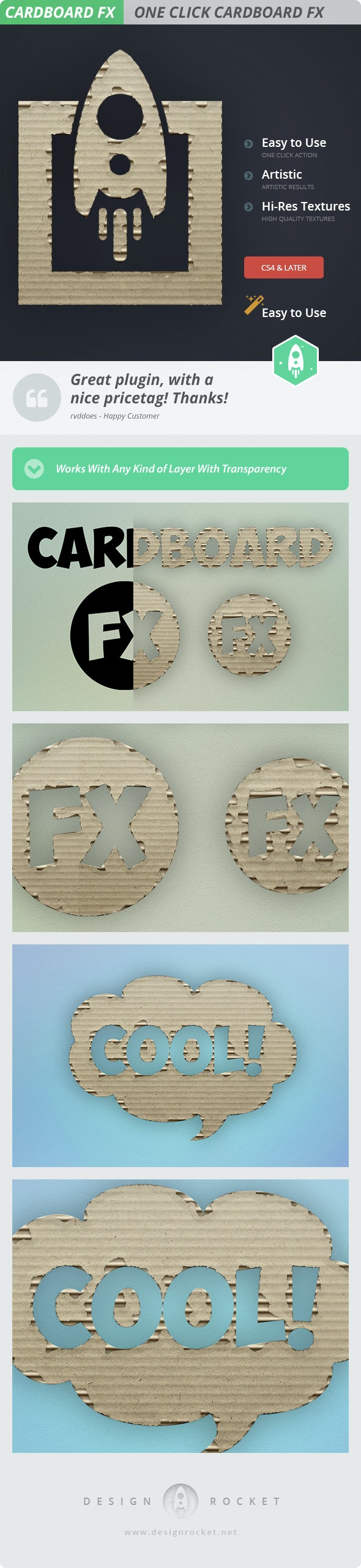 Cardboard FX - Cute Cardboard Action - Actions Photoshop
