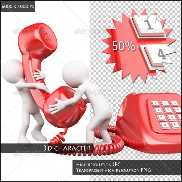 3D Small People Talking on the Phone - Characters 3D Renders