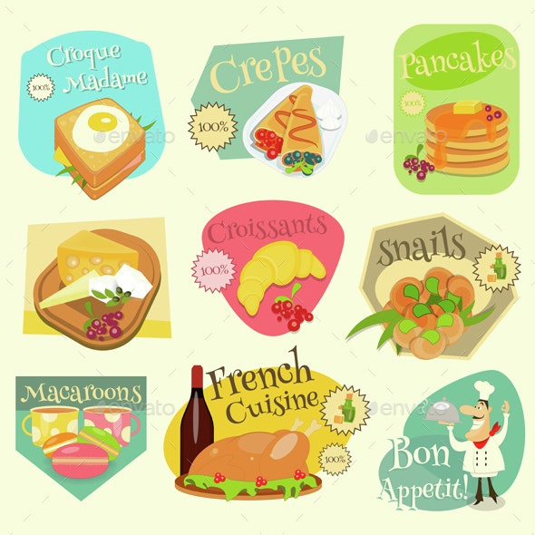 French Food Labels Set - Food Objects