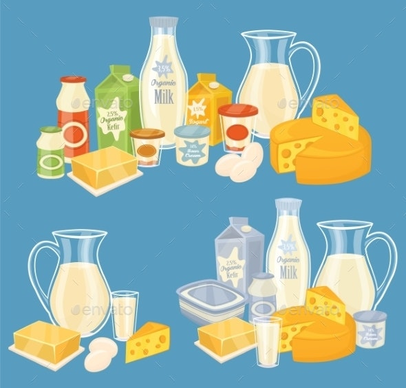 Dairy Products Isolated Illustration - Food Objects