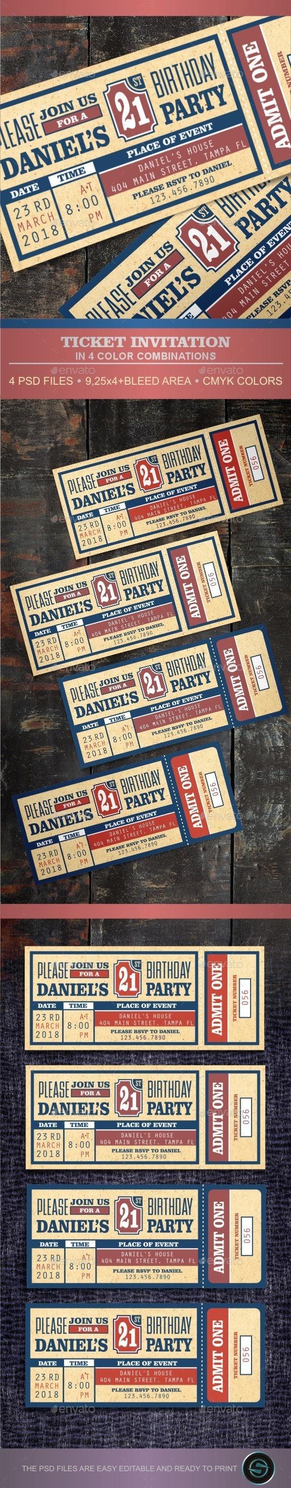 Ticket Invitation - Invitations Cards & Invites
