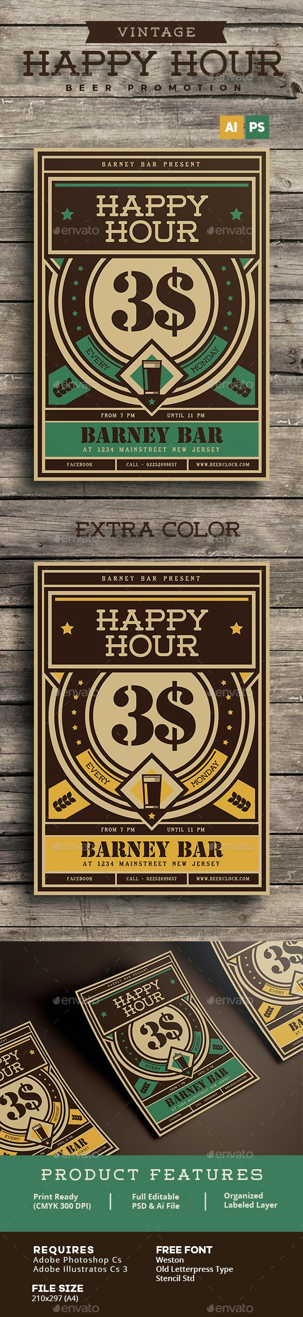 Vintage Happy Hour Beer Promotion - Events Flyers
