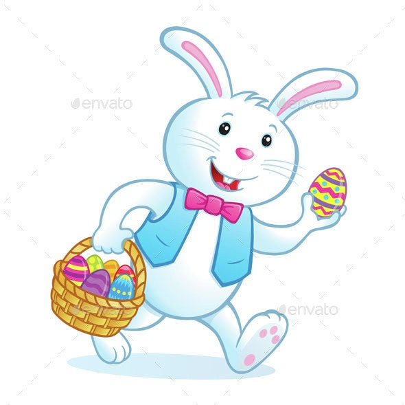 Bunny Carrying Easter Basket Filled with Eggs - Miscellaneous Seasons/Holidays