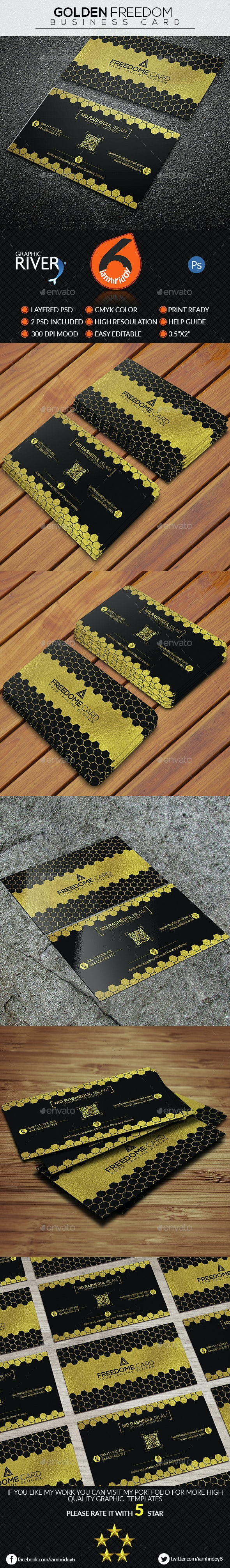 Golden Freedom Business Card - Business Cards Print Templates
