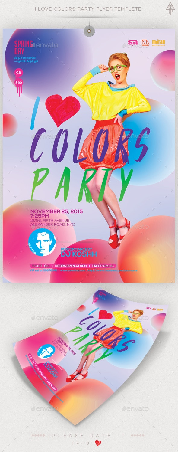 Colors Party Flyer Template - Clubs & Parties Events