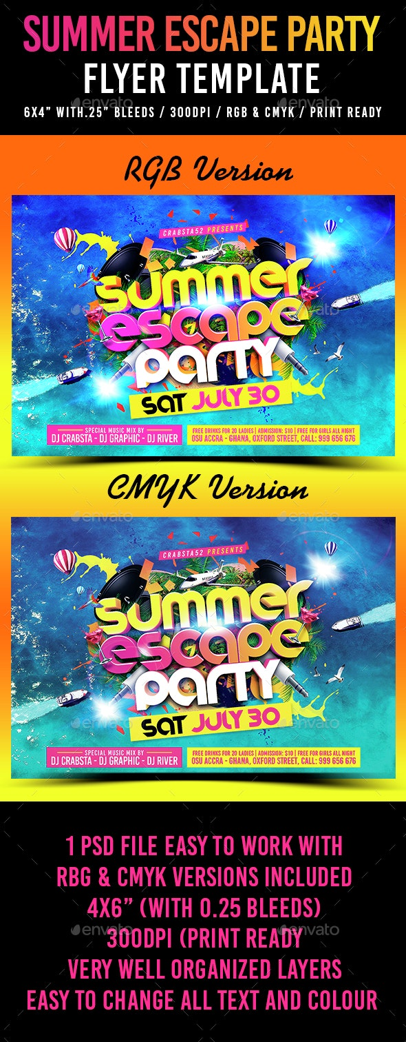 Summer Escape Party Flyer Template - Clubs & Parties Events